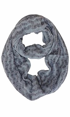 Dark Grey Knit Chevron Infinity Loop Scarves