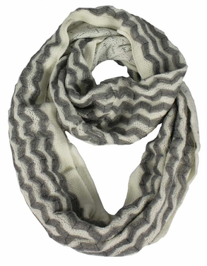 Classic Dark Grey Knit Chevron Infinity Loop Scarves Light Grey Zigzag