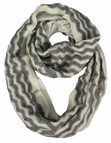 Charming Classic Knit Chevron Infinity Loop Scarves Light Grey Zigzag
