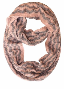 Light Pink Zigzag Knit Chevron Infinity Loop Scarves