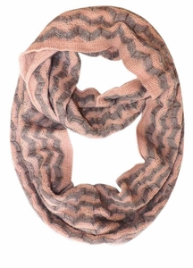 Charming Classic Knit Chevron Infinity Loop Scarves Light Pink Zigzag