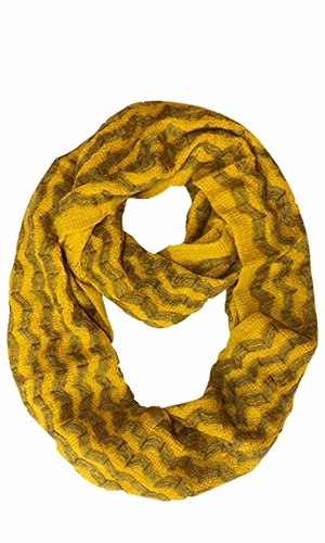Charming Classic Knit Chevron Infinity Loop Scarves Yellow Zigzag