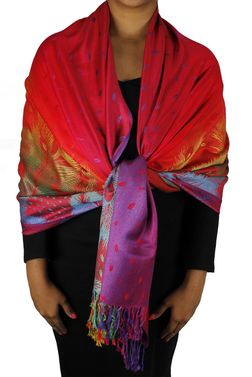 Cherry Red Rainbow Silky Tropical Feather Pashmina Wrap Shawl Scarf