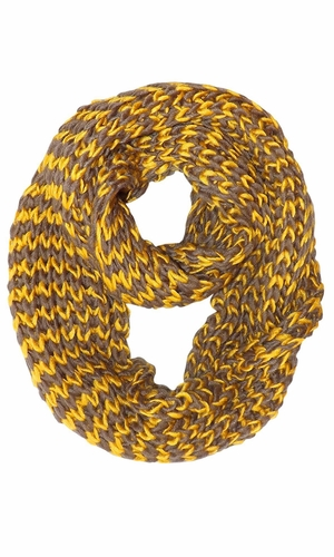 Yellow Hand Knit Multicolor Infinity Loop Scarves