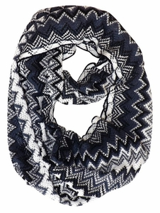Black-White Chevron Multi-Color Zigzag Knitted Loop Scarf