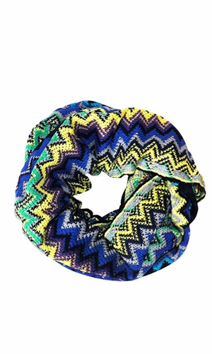 Blue Chevron Multi-Color Zigzag Knitted Loop Scarf