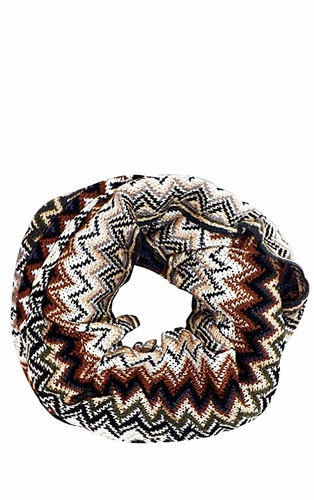 Brown Chevron Multi-Color Zigzag Knitted Loop Scarf