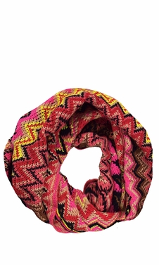 Pink Chevron Multi-Color Zigzag Knitted Loop Scarf