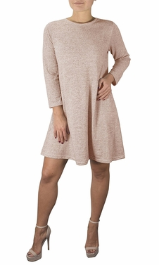 Blush Fashion 3/4 Sleeve Scoop Neck T-Shirt Dress