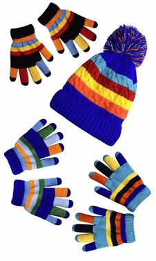 Rainbow Blue Set Toddler Warm Winter Gloves and Mittens Value packs (One Size  (4 to 8 Years))
