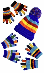 Children's Toddler Warm Winter Gloves and Mittens Value packs (One Size, Rainbow Blue Set Little Kids (4 to 8 Years))