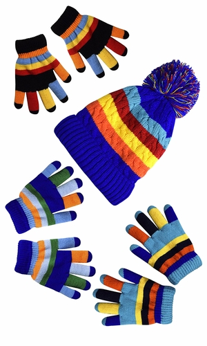 Rainbow Blue Set Toddler Warm Winter Gloves and Mittens Value packs One Size (2 to 4 Years))