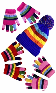 Rainbow Pink Set Toddler Warm Winter Gloves and Mittens Value packs (One Size, (4 to 8 Years))