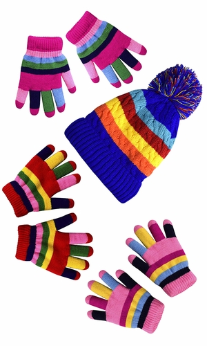 Children's Toddler Warm Winter Gloves and Mittens Value packs (One Size, Rainbow Pink Set Toddlers (2 to 4 Years))