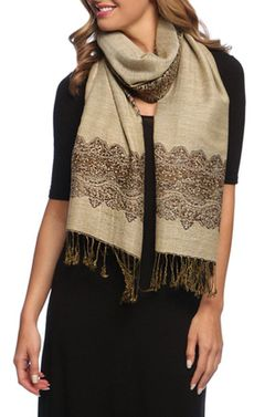 Chocolate Tan Ravishing Reversible Pashmina Shawl with Braided Fringe