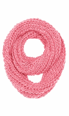 Rose Pink Hand Made Chunky Knit Infinity loop Scarves in Warm Colors