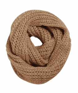 Taupe Warm Hand Knitted Infinity Large Loop Scarf