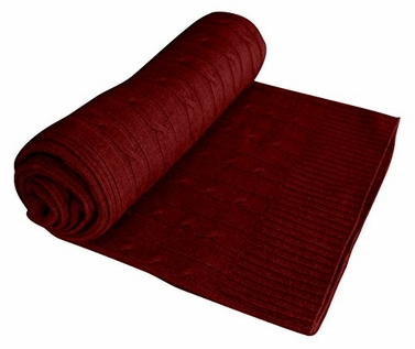Maroon Cable Knit 100% Cashmere Throw