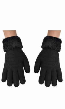 Black Cable Knit Plush Fleece Lined Double Layer Winter Gloves (One Size)- Limit 1 per household