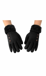 Black Womens Classic Cable Knit Plush Fleece Lined Double Layer Winter Gloves