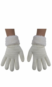 Cream Classic Cable Knit Plush Fleece Lined Double Layer Winter Gloves (One Size, 05)