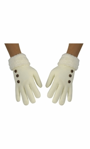 Cream Classic Cable Knit Plush Fleece Lined Double Layer Winter Gloves (One Size, 06)
