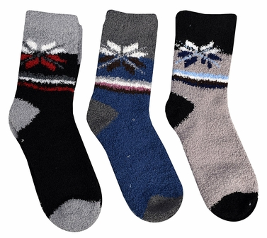 Classic Fuzzy Socks Christmas Holiday Packs of 3 (Black Blue Grey)
