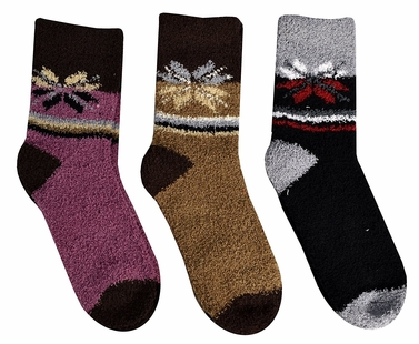Black Brown Pink Fuzzy Socks Christmas Holiday Packs of 3