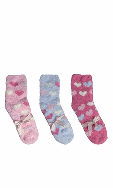 Blue Fuchsia Light Pink Fuzzy Socks Christmas Holiday Packs of 3