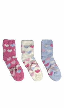 Classic Fuzzy Socks Christmas Holiday Packs of 3 (Blue White Fuchsia)