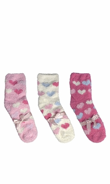 Fuchsia White Light Pink Fuzzy Socks Christmas Holiday Packs of 3