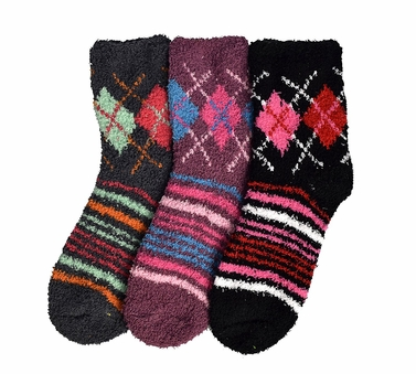 Classic Fuzzy Socks Christmas Holiday Packs of 3 (Grey Black Mauve)