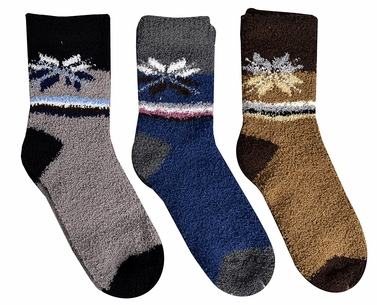 Grey Blue Brown Fuzzy Socks Christmas Holiday Packs of 3