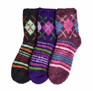 Grey Mauve Purple Fuzzy Socks Christmas Holiday Packs of 3