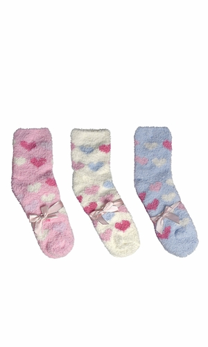 Light Pink White Blue Fuzzy Socks Christmas Holiday Packs of 3