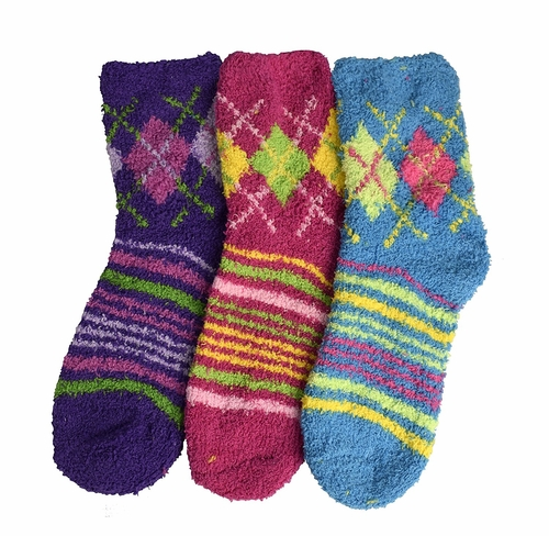 Purple Fuchsia Blue Fuzzy Socks Christmas Holiday Packs of 3