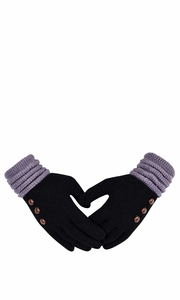 Black Cozy Two Tone Touch Screen Gloves with Showpiece Buttons