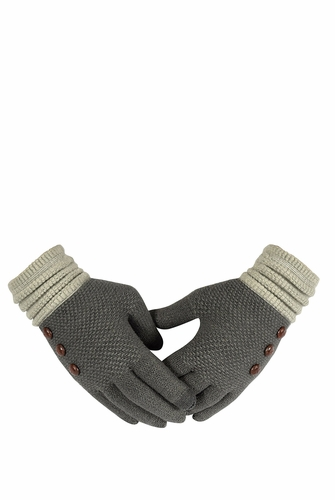 Grey Knit Warm Two Tone Touch Screen Gloves with Showpiece Buttons