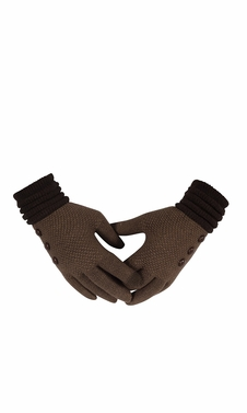 Classic Knit Warm Cozy Two Tone Touch Screen Gloves with Showpiece Buttons Taupe