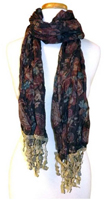 Classic Paisley Floral Silk Crinkle Scarf with Knotted Tassels