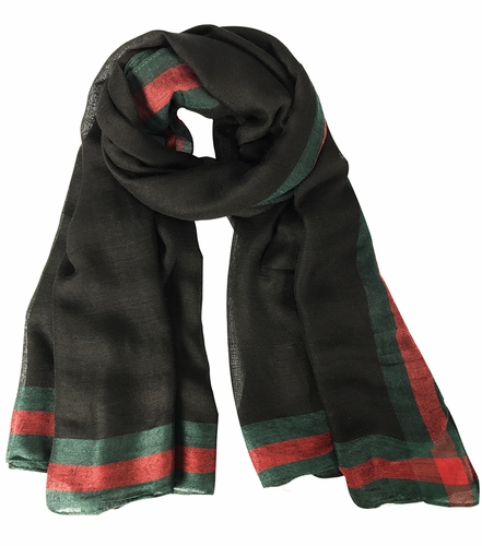 Classic Vintage Designer Red and Green Bordered Boutique Style Scarf (Black) ! By Invitation Only !
