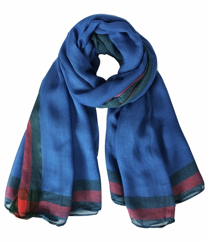 Blue Designer Red and Green Vintage Bordered Boutique Style Scarf