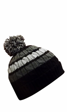Black Classic Warm Adorable Kids Striped Cable Knit Winter Pom Pom Hat