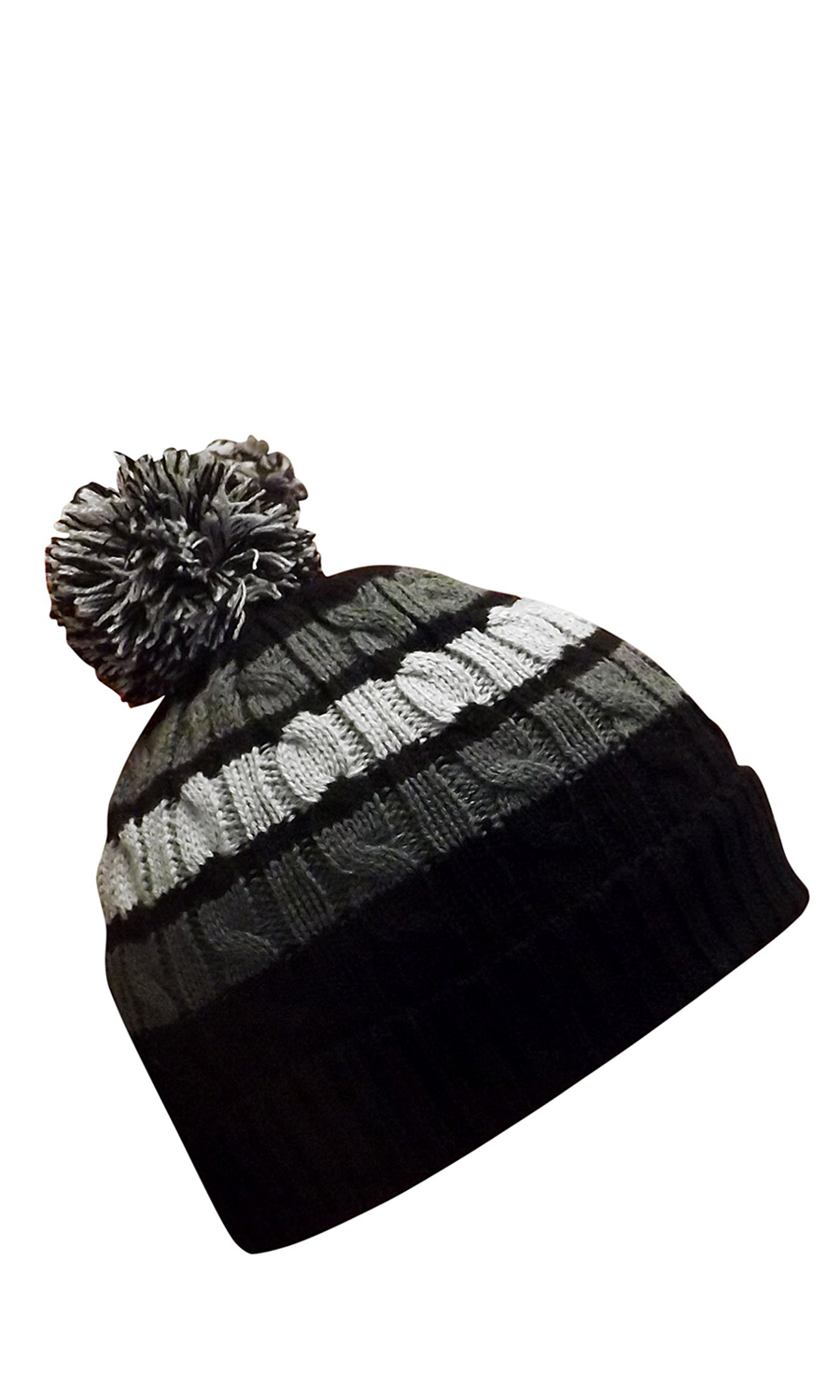4ddf7d725 Classic Warm Adorable Kids Striped Cable Knit Winter Pom Pom Hat ...