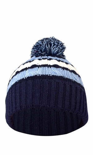 Classic Warm Adorable Kids Striped Cable Knit Winter Pom Pom Hat Navy