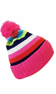 Pink Warm Adorable Kids Striped Cable Knit Winter Pom Pom Hat