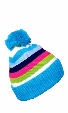Sky Blue Striped Cable Knit Winter Pom Pom Hat