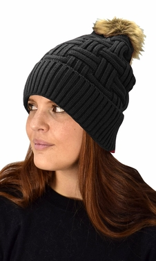 Black 10 Womens Warm Hand Knit Pom Thick Winter Ski Snowboard Hat