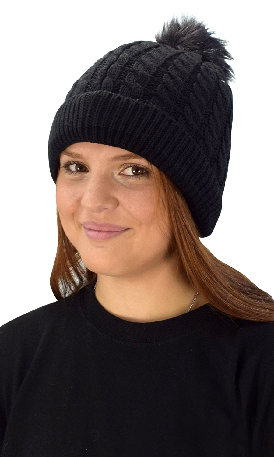 0281271e Black Womens Warm Hand Knit Pom Thick Sherpa Lined Winter Ski Snowboard Hat  - Limit one