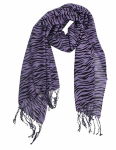 Purple Striped Zebra Print Scarf